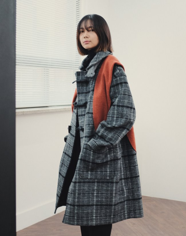 Overfit Sailor Collar Duffle Coat Check